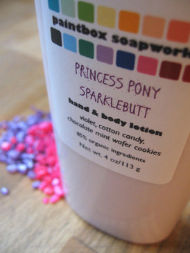 Princess Pony Sparklebutt Organic Hand and Body Lotion - Violet, Cotton Candy, Chocolate Mint Wafer Cookies...