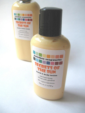 Secrets of the Sun SAMPLE SIZE Organic Hand and Body Lotion - Patchouli, Honey, Wild Honeysuckle, Gardenia... Summer Limited Edition