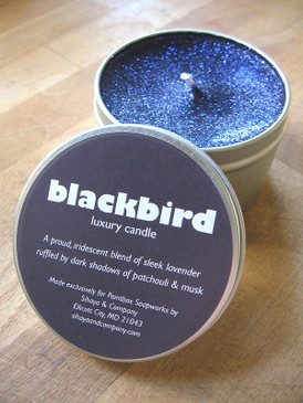 Blackbird Luxury Candle - Lavender, Dark Patchouli, Musk, Tonka... Revised Formula