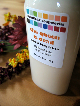 The Queen is Dead Organic Hand and Body Lotion - Honey, Leather, Incense Smoke... Limited Edition