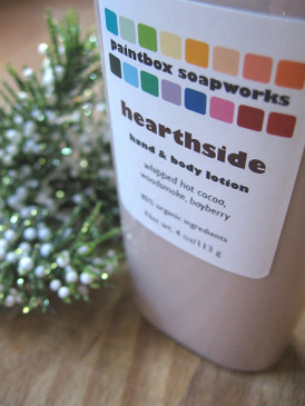 Hearthside Organic Hand and Body Lotion - Hot Cocoa, Sweet Woodsmoke, Bayberry... Yuletide Limited Edition