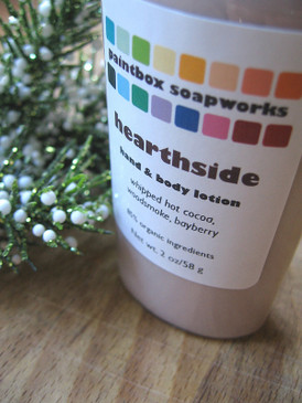 Hearthside Organic Hand and Body Lotion SAMPLE SIZE - Hot Cocoa, Sweet Woodsmoke, Bayberry... Yuletide Limited Edition