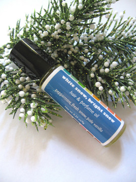 White Snow, Bright Snow Hair & Perfume Oil - Peppermint, Fresh Snow, Pale Vanilla... Yuletide Limited Edition