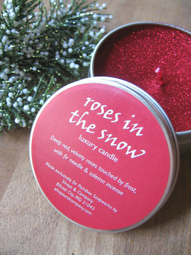Roses in the Snow Luxury Candle - Red Rose, Fir Needle, Incense... Yuletide Limited Edition