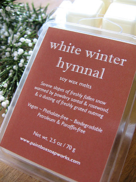 White Winter Hymnal Soy Wax Melts - Fresh Snow, Santal, Nutmeg, Rosewood... Yuletide Limited Edition