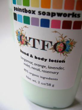 GTFO SAMPLE SIZE Organic Hand and Body Lotion - Bergamot, Orange, Lavender, Violet, Neroli, Rosemary...