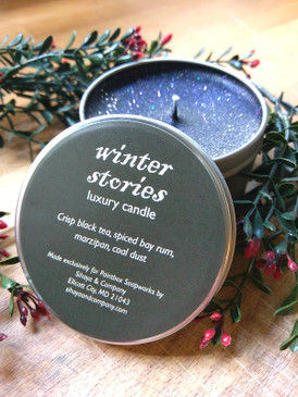 Winter Stories Luxury Candle - Tea, Bay Rum, Marzipan, Coal Dust... Yuletide Limited Edition