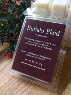 Buffalo Plaid Soy Wax Melts - Cedar, Pine, Tobacco, Leather, Coffee... Yuletide Limited Edition