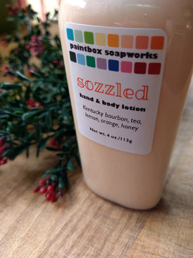 Sozzled Organic Hand and Body Lotion - Kentucky Bourbon, Tea, Lemon, Orange, Honey... Yuletide Limited Edition