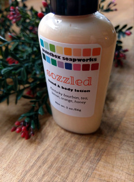 Sozzled Organic Hand and Body Lotion SAMPLE SIZE - Kentucky Bourbon, Tea, Lemon, Orange, Honey... Yuletide Limited Edition