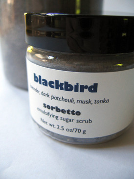 Blackbird Sorbetto Emulsifying Sugar Scrub SAMPLE SIZE - Lavender, Dark Patchouli, Musk, Tonka... Revised Formula