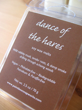 Dance of the Hares Soy Wax Melts - Wild Musk, Damp Smoke, Tender Roots... Spring Limited Edition