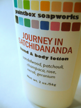 Journey in Satchidananda SAMPLE SIZE Organic Hand and Body Lotion - Sandalwood, Patchouli, Champaca, Rose, Neroli, Geranium... Summer Limited Edition