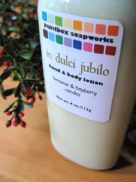 In Dulci Jubilo Organic Hand and Body Lotion - Beeswax & Bayberry Candles... Yuletide Limited Edition