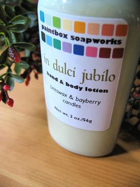 In Dulci Jubilo Organic Hand and Body Lotion SAMPLE SIZE - Beeswax & Bayberry Candles... Yuletide Limited Edition