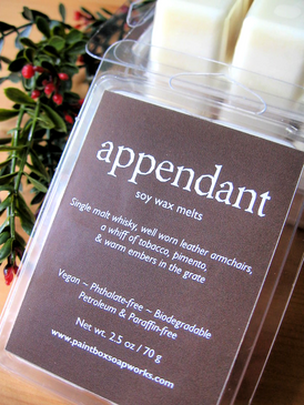 Appendant Soy Wax Melts - Whisky, Leather, Tobacco, Pimento, Woodsmoke... Yuletide Limited Edition
