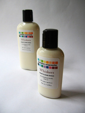 Whiskers Organic Hand and Body Lotion SAMPLE SIZE - Dry Sandalwood, Vanilla, Fresh Air... Revised Formula