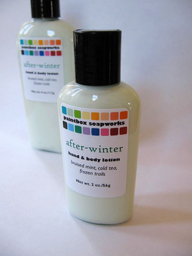 After-Winter SAMPLE SIZE Organic Hand and Body Lotion - Bruised Mint, Cold Tea, Frozen Trails... Spring Limited Edition