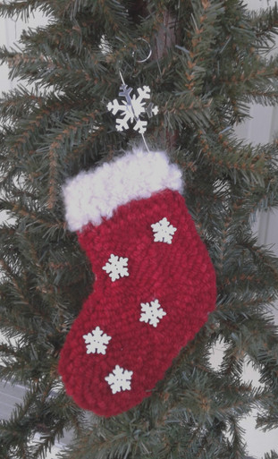 Stocking ornament Hand dyed wool rug yarn, Curly Mohair yarn and snowflake buttons