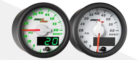 White & Green MaxTow Diesel Gauge Series