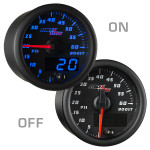 Black & Blue MaxTow 60 PSI Boost Gauge On/Off View