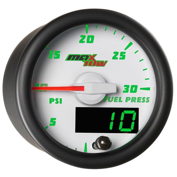 White & Green MaxTow 30 PSI Fuel Pressure Gauge