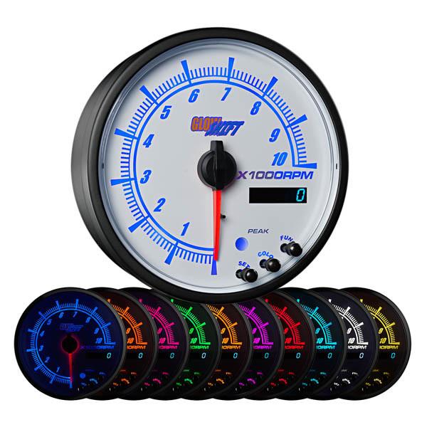 """White Elite 10 Color 3 3/4"""" In Dash Tachometer w Shift Light"""