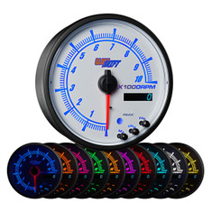 "White Elite 10 Color 3 3/4"" In Dash Tachometer w Shift Light"