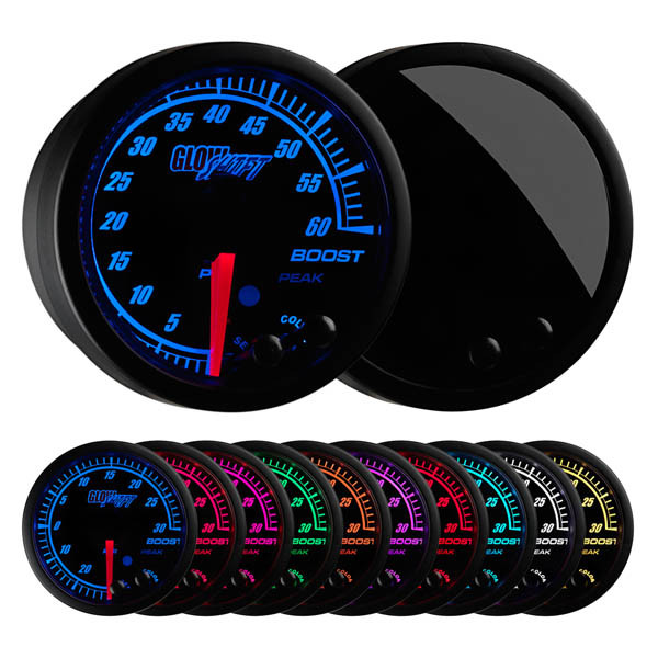 GlowShift White Elite Ten Color 60 PSI Electronic Boost Gauge GS-EWT01/_60