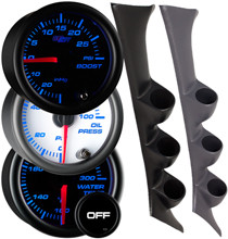 52mm Mounts Factory Color Matched Gauges to Vehicles A-Pillar ABS Plastic 2-1//16 3 GlowShift Dark Gray Triple Pillar Gauge Pod for 1995-1999 Mitsubishi Eclipse