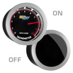 GlowShift Tinted 10,000 RPM Tachometer Gauge On/Off View