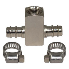 """Fuel Line Fuel Pressure Sensor T-Fitting Adapter w Clamps GlowShift 8mm 5//16/"""""""