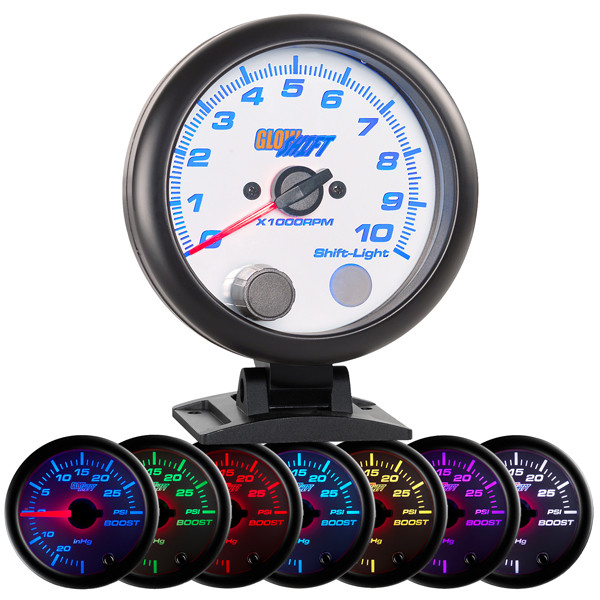"""White 7 Color 3 3/4"""" Tachometer Gauge with Shift Light"""