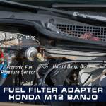 Honda Fuel Pressure Banjo Bolt Adapter Installed
