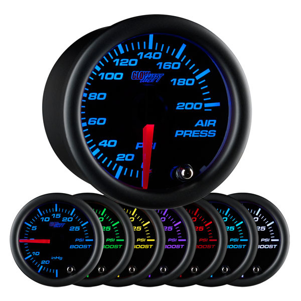 Black 7 Color 200 PSI Air Pressure Gauge