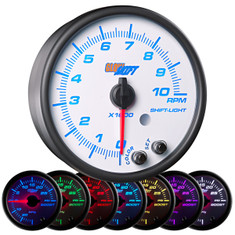 "White 7 Color 3 3/4"" In Dash Tachometer Gauge"