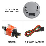 Included Sensor & Wire Harness with Tinted 30 PSI Fuel Pressure Gauge