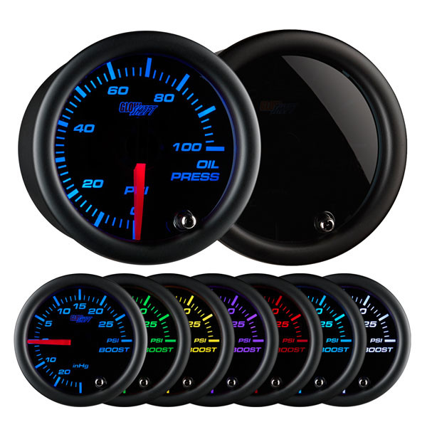 GlowShift Tinted 7 Color Oil Pressure Gauge on