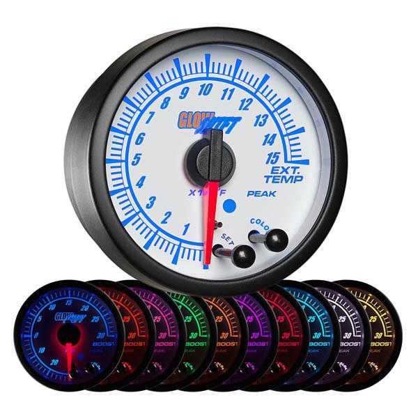 White Elite 10 Color 1500° F Pyrometer EGT Gauge