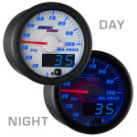 White & Blue MaxTow Oil Pressure Gauge Day/Night View