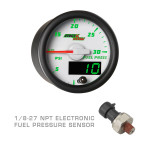 White & Green MaxTow 30 PSI Fuel Pressure Gauge with 1/8-27 NPT Electronic Pressure Sensor