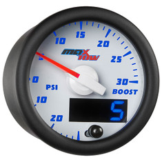 White & Blue MaxTow 30 PSI Boost/Vacuum Gauge