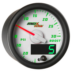 White & Green MaxTow 30 PSI Boost/Vacuum Gauge