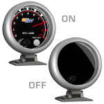 """Tinted 3 3/4"""" Tachometer Gauge On/Off View"""