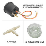 White 7 Color BAR Boost/Vacuum Gauge T-Fitting &  Clear Hose
