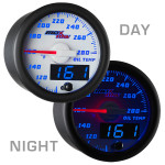 White & Blue MaxTow Oil Temperature Gauge Day/Night View