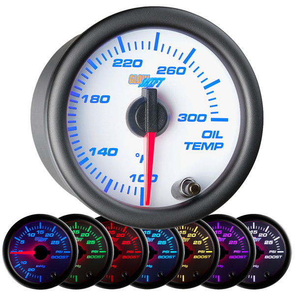 White 7 Color Oil Temperature Gauge