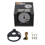 "GlowShift White 7 Color 3 3/4"" In Dash Speedometer Gauge Unboxed"