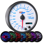 "White 7 Color 3 3/4"" In Dash Speedometer Gauge"