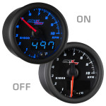 "Black & Blue MaxTow 2"" Tachometer Gauge On/Off View"